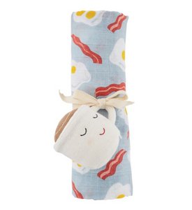 Bacon & Eggs Swaddle and Rattle Set