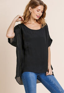 Dolman Sleeve Sheer Top