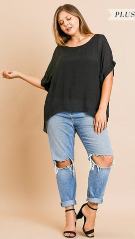 Dolman Sleeve Sheer Top +