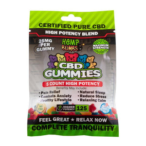 Hemp Bombs CBD Gummies High Potency 5 Count - Fitness Mania Supps