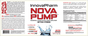 InnovaPharm NOVA PUMP 20 Servings - Fitness Mania Supps