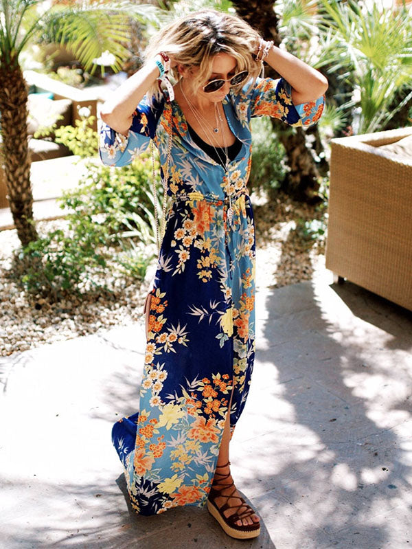 Floral Bandage Split-front Beach Cover-ups