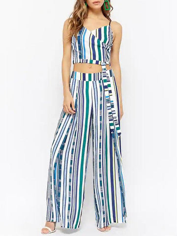 Tie-dye Deep V-neck Wide Leg Suits