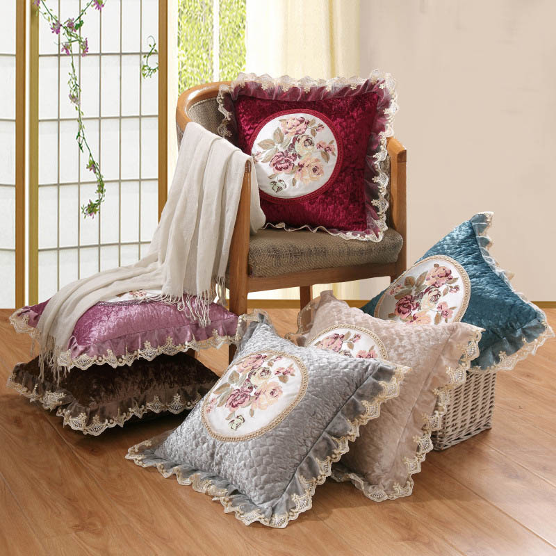 Printed Embroidered Lace Pillow Case