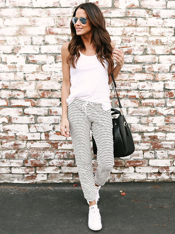 Striped Bandage Casual Pants