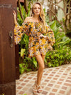 Off-the-shoulder Floral A-line Trumpet Sleeves Dress