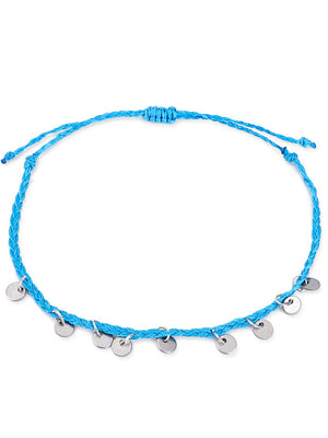 4piece Hand-woven Copper Disc Decor Anklet