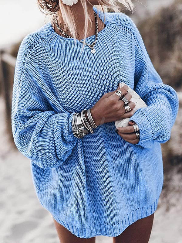 Loose Plain Kniting Sweater