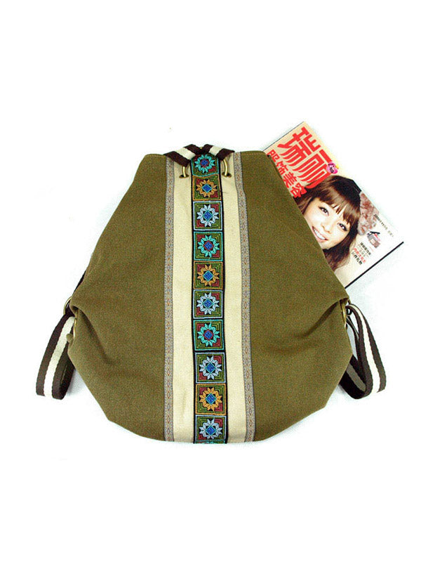 Embroidered Zipper Backpack Bag