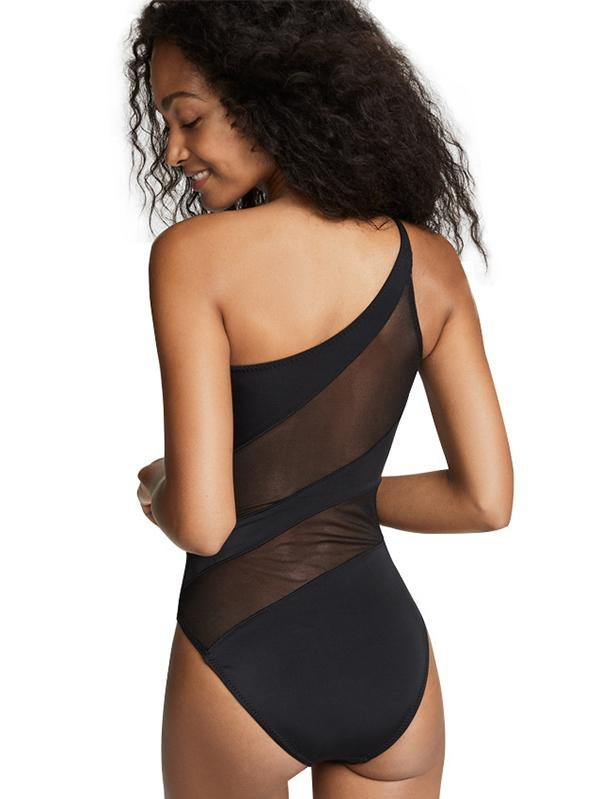 Tulle Black Single Shoulder One-piece Swimwear