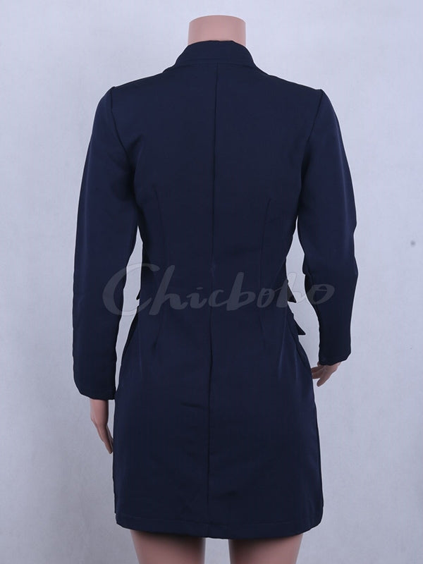 Plain Double-breasted V-neck Blazer Dress