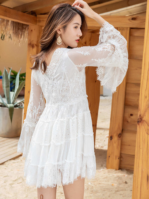 High Waist Loose Vacation Lace Mini Dress