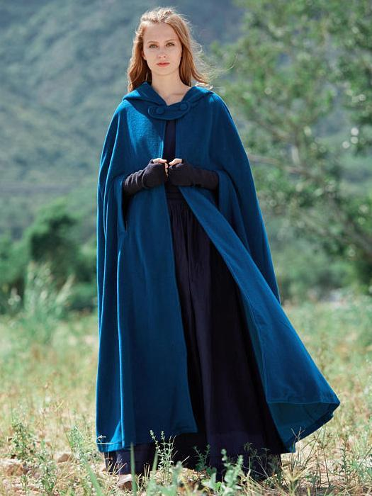Blue Hooded Cloak Trench Cape Outwear