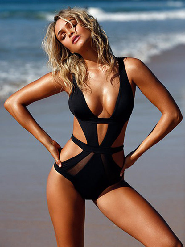 Bandage Tulle Black One-piece Swimwear