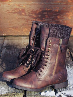 Vintage Knitting Wool Boots Mid Calf Boots