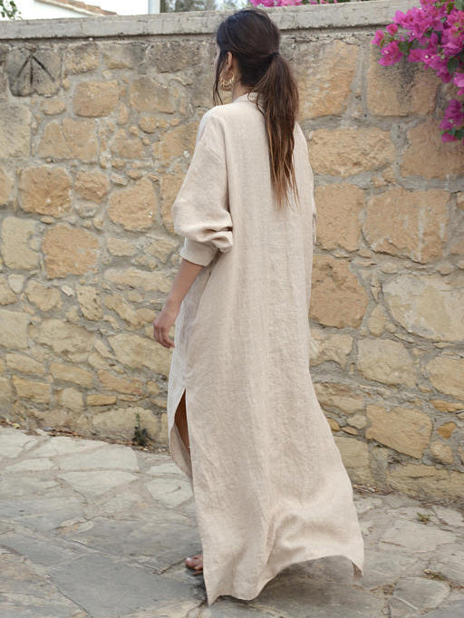 V-neck Long Sleeves Split-side Maxi Dress