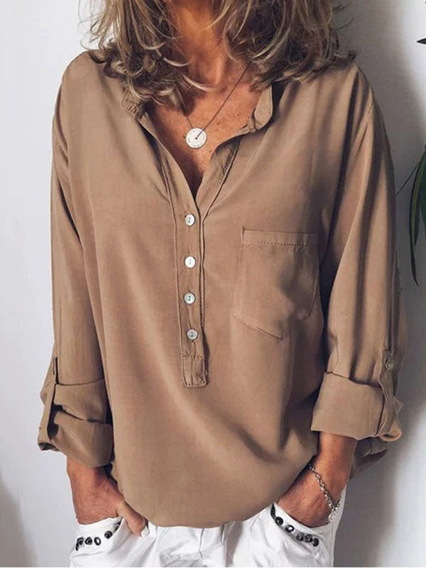 V-neck Long Sleeve Blouses