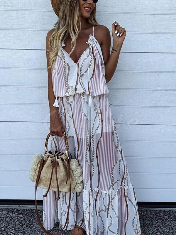 Printed Spaghetti Strap V-neck Maxi Dress