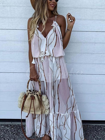 Boho Back Knot V-neck Maxi Dress