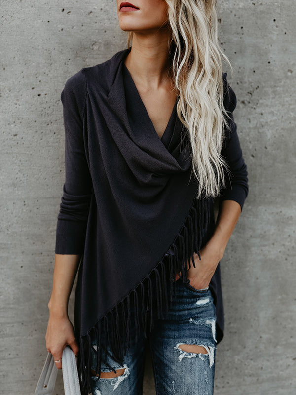 Long Sleeves Solid Tassels Cardigan Tops