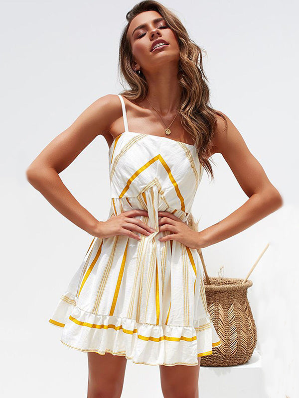 Falbala Stripes Sexy Summer Fresh Mini Dresses