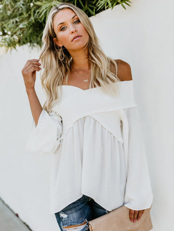 8 Colors Off-the-shoulder Blouses&Shirts Tops