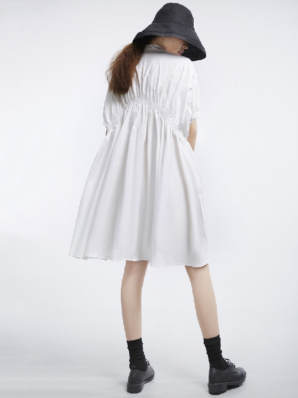 Asymmetric Lantern Short Sleeves Dress