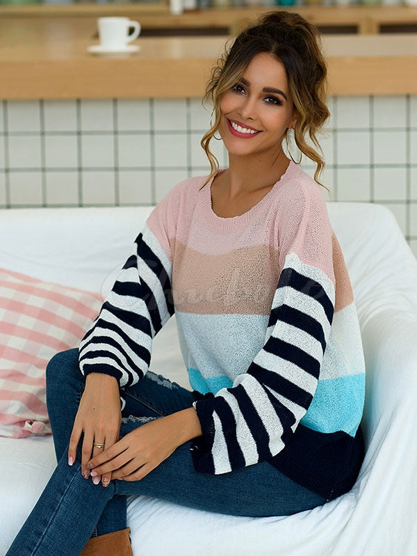 Striped Color-block Split-joint Knitting Sweater