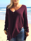 Asymmetric V-neck Knitting Split-sied Blous&shirt Tops
