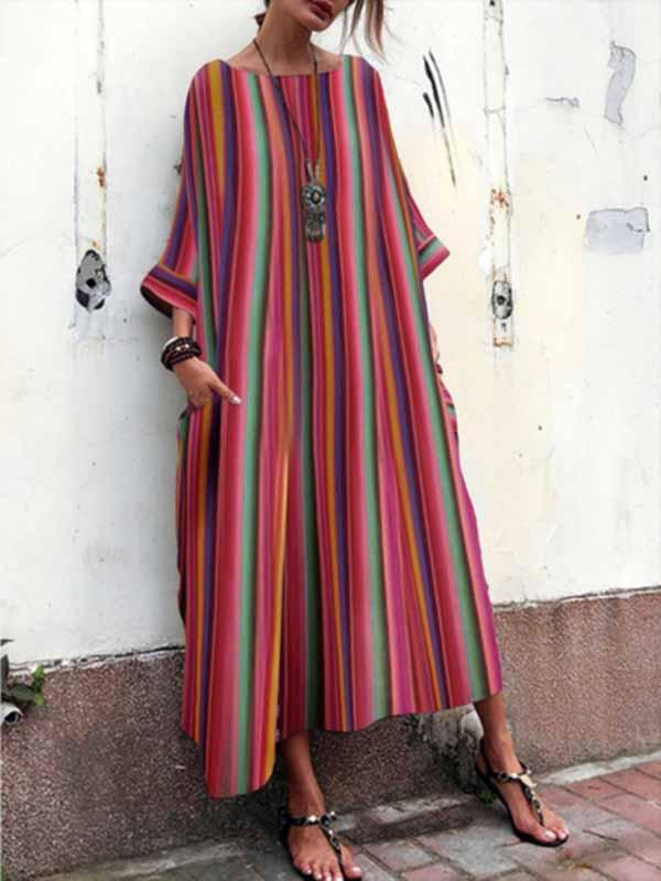 Red 3/4 Sleeves Printed Pokets Striped Dress