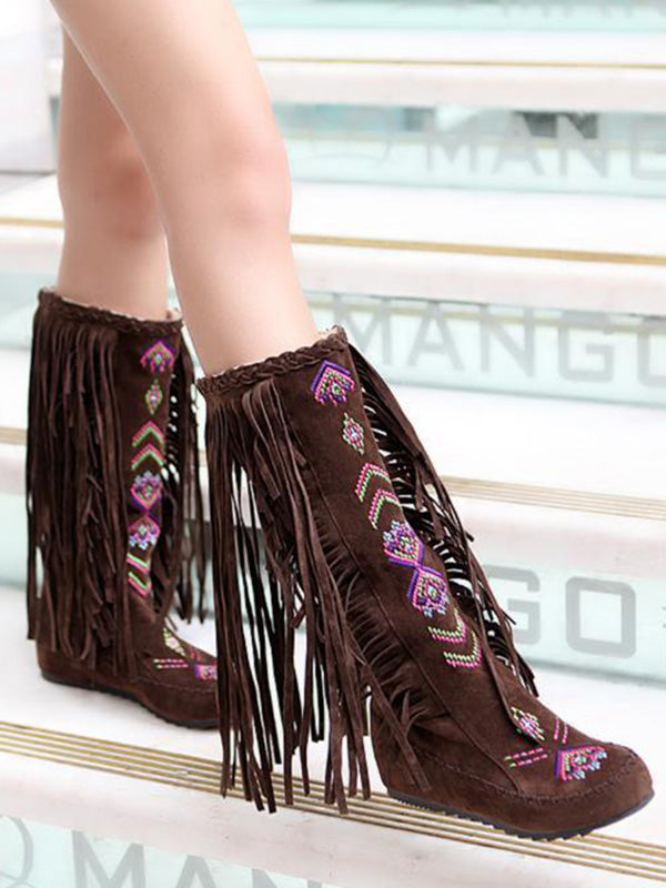 National Style Tasseled Vintage Low-heel Boots Shoes
