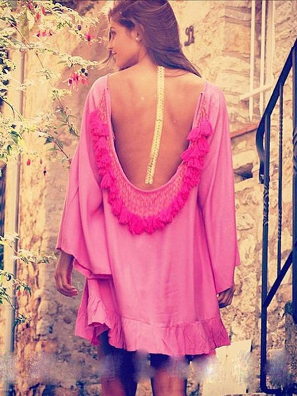 Fashion Loose Half Sleeve Round Neck Tassel Off-Back Mini Dress