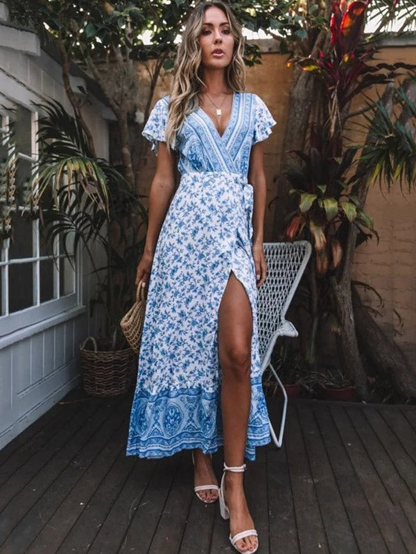 Printed V-neck Split-front Maxi Dress
