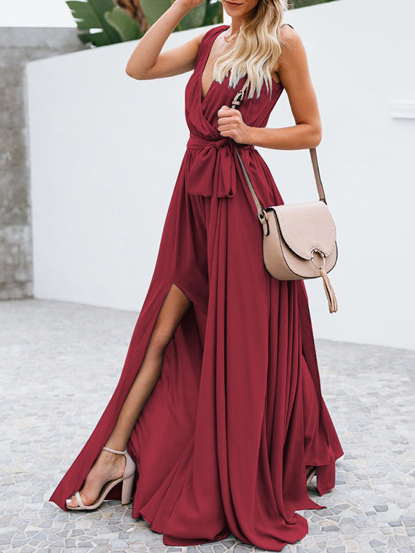 Sleeveless Split-side Belted Maxi Dress