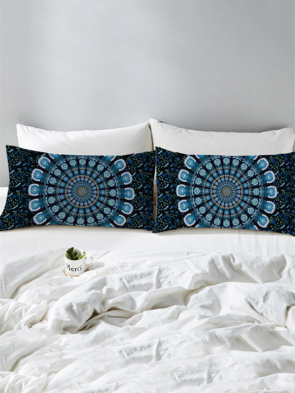 Peacock Feather Printed Twain Pillow Case