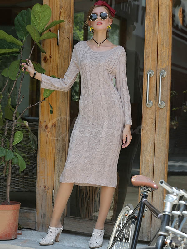 Plain Twisted Long One-shoudler Dress
