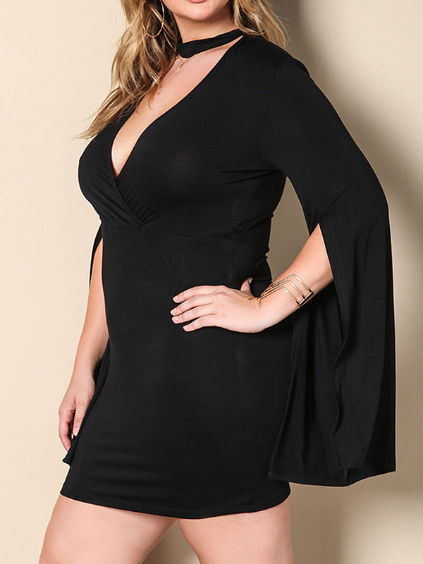 Solid Color Plus Size V-neck Mini Dress