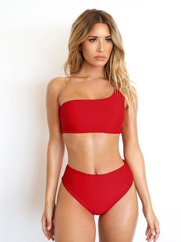 Single Shoulder High Waist Bikinis Swimwear