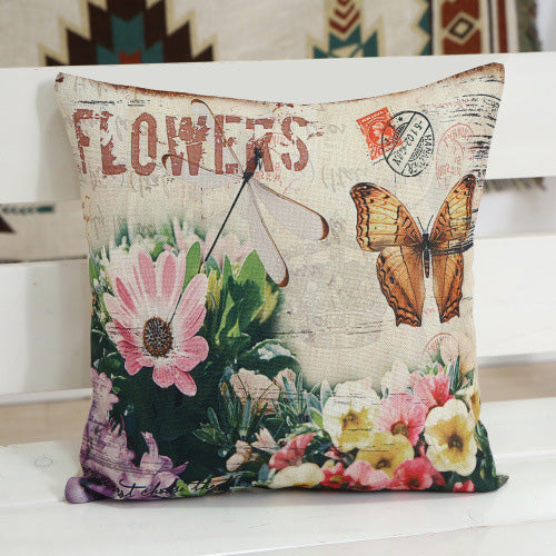 Vintage Floral Printed Pillow Case