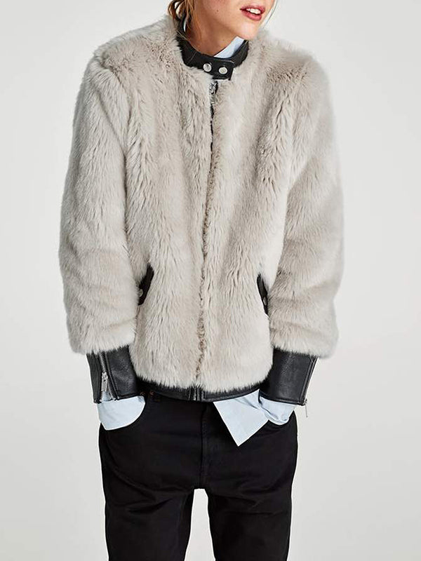 Faux Fur Leather Stitching Plush Thick Jacket Coat