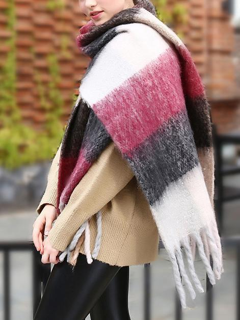 Plaid Tassel Cashmere Imitation Scarf