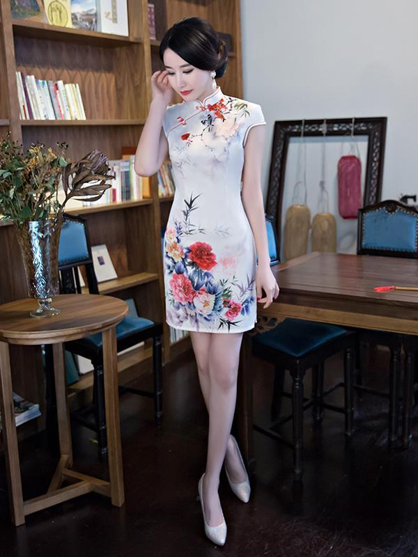 Vintage Printed Short Cheongsams Dress