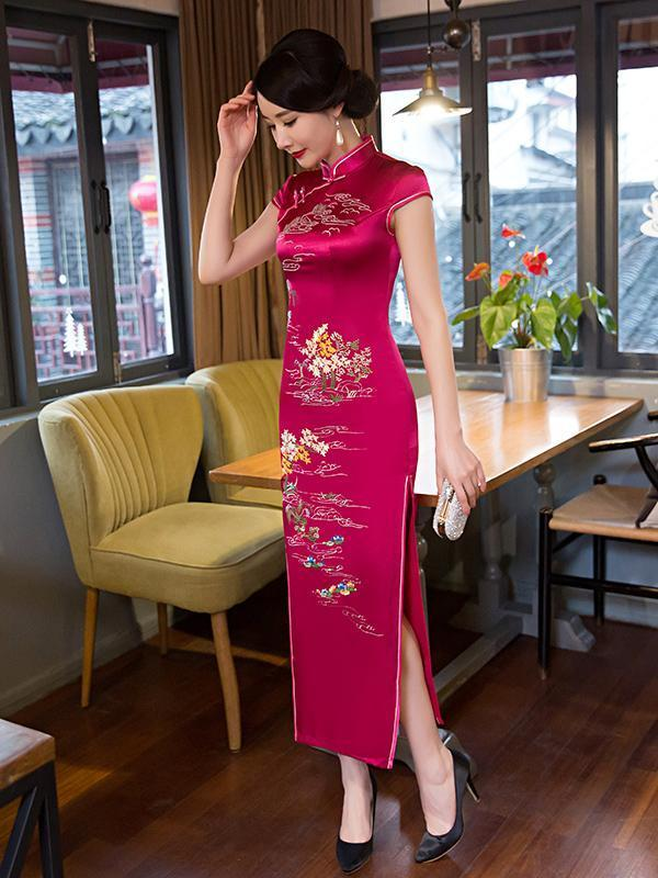 Embroidery Cap Sleeve Side Split Long Cheongsam Dress