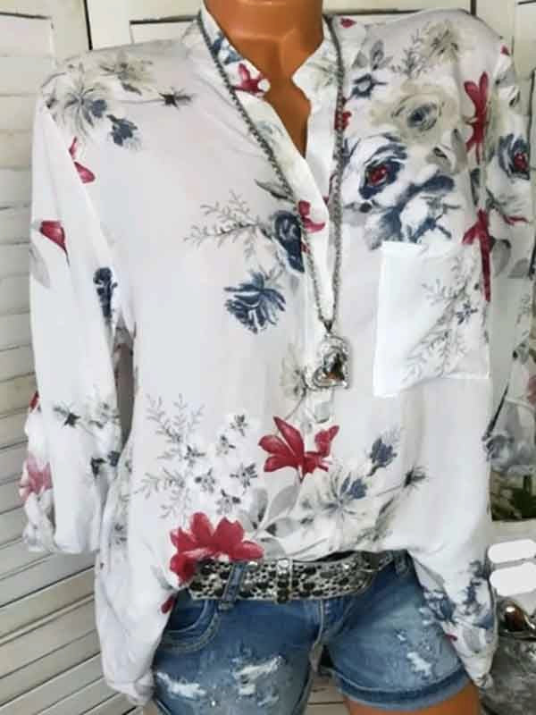Fashion V-neck Floral Long Sleeves Blouses&shirts Tops