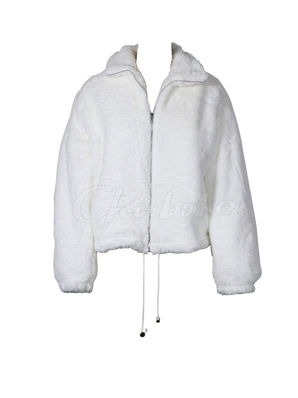 White Long Sleeve Solid Outwear