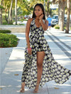 Popular Floral-Print Chiffon Off-Back Side Split Maxi Dress