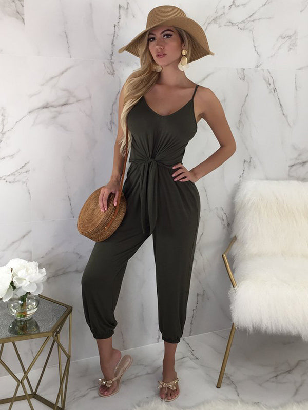 Solid Loose Bandage Jumpsuits