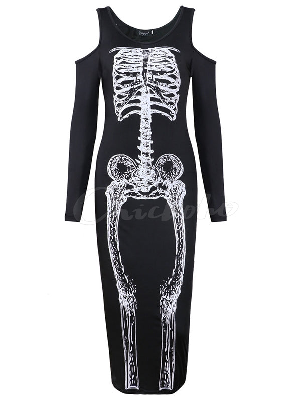 Skeleton Printed Halloween Maxi Dress