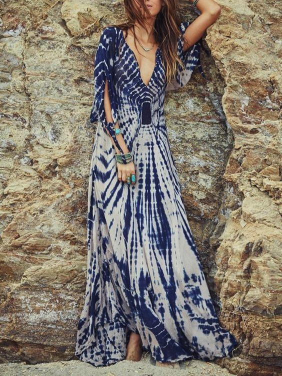 Anomalous Printed Half Sleeve Deep V Neck Side Split Dress