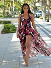Fashion Floral-Print Chiffon Off-Back Side Split Maxi Dress